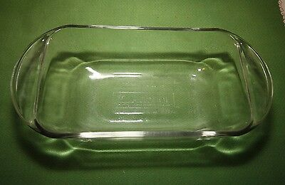 "Vintage ANCHOR HOCKING Ovenware Clear Glass LOAF DISH 1 1/2 Quart   9"" x 5"" x 3"""