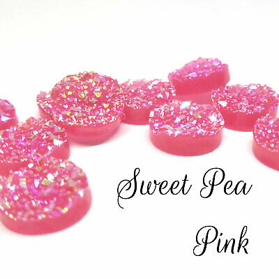 10 x Druzy 12mm Cabochon in Sweet Pea Pink  Perfect for Earrings Drusy