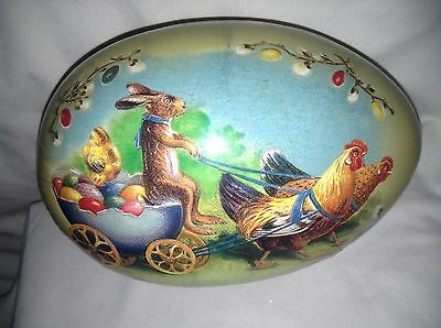 """Vintage GERMANY 7"""" Paper Mache Egg Container Bunny, Egg carriage pulled by Hens"""