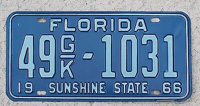 1966 Florida License Plate sunshine state truck tag