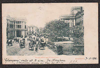 1901 Singapore Police Office And Police Court Street Scene Postcard