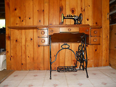 Brunswick Treadle Sewing Machine Antique Wrought Iron Beautiful Wood Cabinet