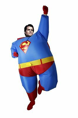 Superman costume fancy dress Stag Hen party chubby hero to the rescue ADULT SIZE