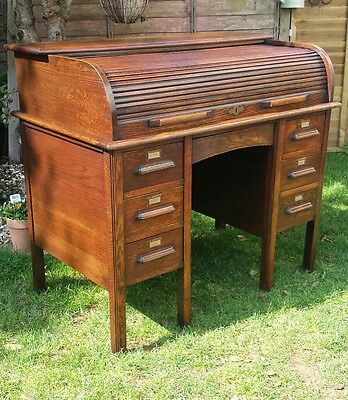 Antique oak roll top desk old office furniture writing table Angus London