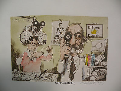 """Art print Charles Bragg Color Lithograph """"OPHTHALMOLOGIST"""" Hand Signed"""