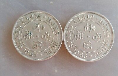 Hong Kong 1967 and 1968  50 Cents~  Elizabeth II~Nice examples