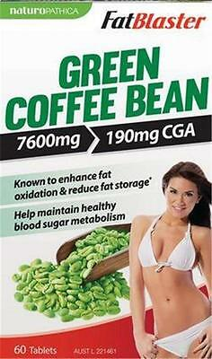 60 Tablets FatBlaster GREEN COFFEE BEAN 7600mg 190mg - Exp. 12/2018 SHELF STOCK