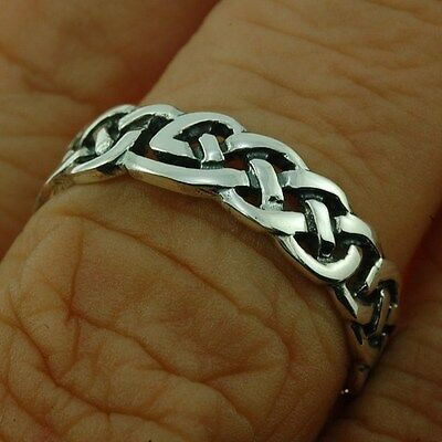 Celtic Knot Silver Band Ring, MIX US SIZE, 925 Plain Solid Sterling Silver,