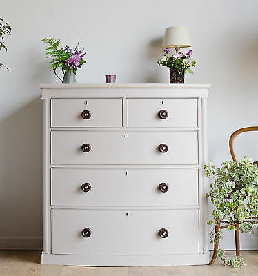 Large Antique Victorian Bow Front Chest of 5 Drawers Painted in Farrow & Ball