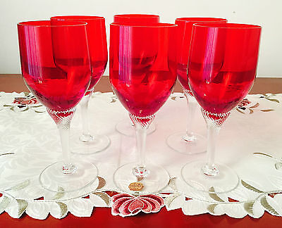 Set Of 6 Vintage Bohemia Glass Czechoslovakia Swivel Stem Ruby Wine Glasses