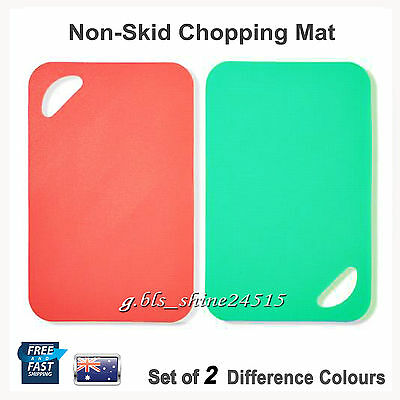 2x Non-Skid Chopping Mat Board Kitchen Thin Flexible Cooking Cutting Chopping
