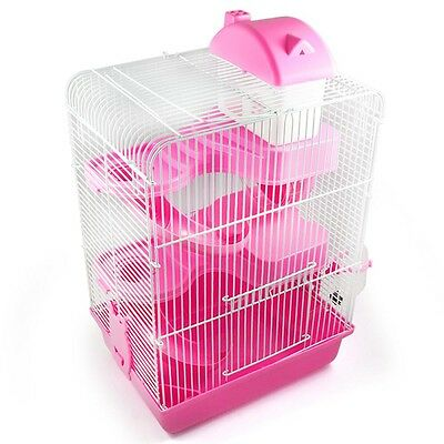 Three Color 3Tier Storey Gorgeous Hamster Mouse Cage Roller Slide Hamster House
