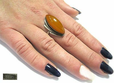 SILVER Ring size 8.25 Star stamp 875 BALTIC AMBER 4,26g Soviet Russia USSR
