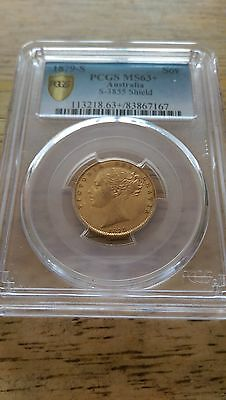1879 Full Gold Shield Sovereign Pcgs MS63+ (£2,650) Final Reduction.