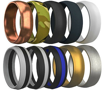 Men's Silicone Wedding Ring Rubber Band Comfort Sport Work 10 Pcs Rubbfit