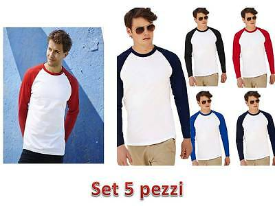 Set 5 Pezzi Maglietta Baseball Manica Lunga  Fruit Of The Loom Personalizzabile