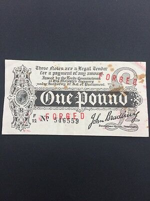 Bradbury Forged/forgery One Pound Banknote Collectable