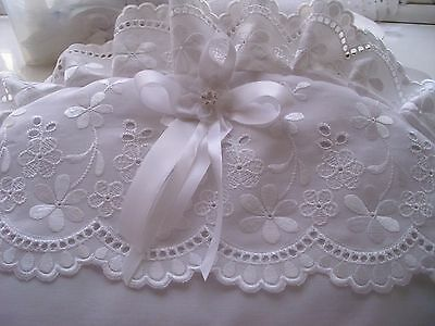 Dolls white/silver pram set fits Surf type prams with Broderie anglaise trims-
