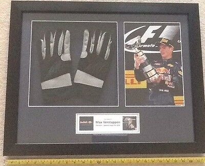 Max Verstappen Hand Signed F1 Gloves and Photo First F1 Win Framed Red Bull