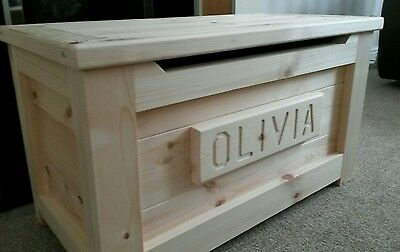 PINE WOODEN TOY BOX HandMade PERSONALISED  Pine Ottoman SAFETY HINGE PRESENT