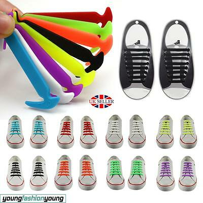 Easy No Tie Shoe Elastic Lace 100% Silicone Trainers Shoes Kids Adult Shoelaces