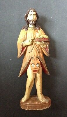 Antique Indo Portuguese Carved Statue of John the Baptist