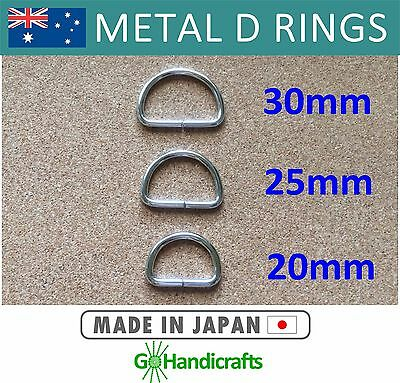 10/pk METAL NICKEL DEE D RINGS 20mm 25mm 30mm NON WELDED 3mm THICK
