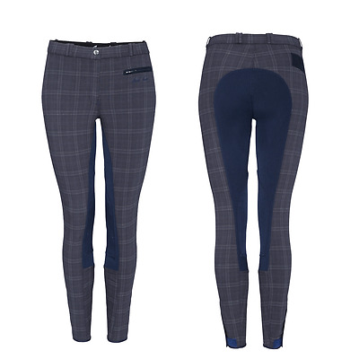Mark Todd Ladies Plaid Check Breeches - Navy or Brown - RRP £79.99 SALE