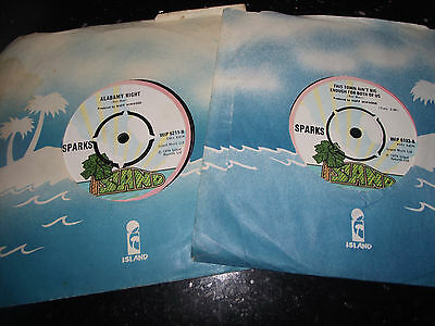 EX 2 x SPARKS UK 1974 ISLAND 7 INCH SINGLES NEVER TURN YOUR BACK/THIS TOWN HEAR