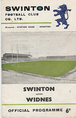 RUGBY PROGRAMME SWINTON v WIDNES  - 26TH MARCH 1969