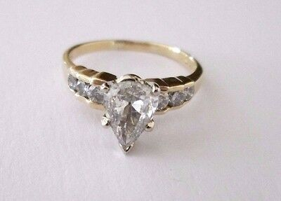 14ct Yellow Gold 1.55ct Solitaire Pear Cut Diamond Engagement Ring Size O