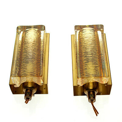 Vitrika - Pair of 'Atlantic' Glass & Brass Wall Lamps - 1970s Danish - Labelled