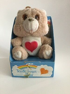 Vintage Care Bears Tenderheart Small Bear 1983 seated in box