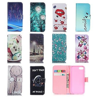 Flip Stand Leather Wallet Card Magnetic Case Cover For Samsung iPhone