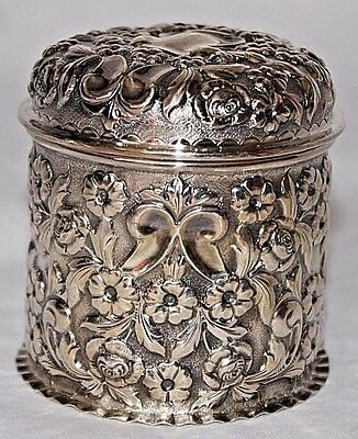 Antique George Nathan & Ridley Hayes Repousse Sterling Silver Canister Container
