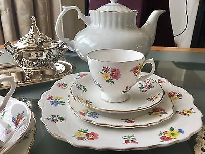 Royal Vale Ditsy Wild Flower Tea Cup, Saucer And Sandwich Plate 1950's