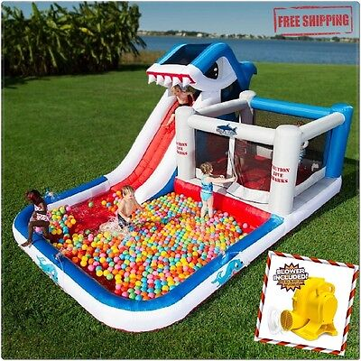 Large Inflatable Water Slide Shark Bounce House Kids Outdoor Pool Party Park