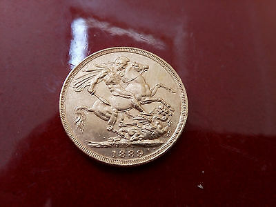 Full Gold Sovereign 1889 Melbourne Mint Queen Victoria Jubilee Head