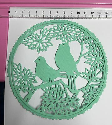 2 x Large Scalloped Frame With Birds & Flowers Die Cuts Cardmaking Embellishment