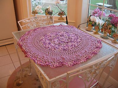 Beautiful Large Vintage Hand Crochet Round Purple Doily Scarve Centerpiece