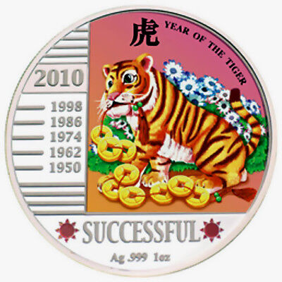 2010 Malawi Successful Year of TIGER 1Oz Silver Proof Coin 20 MWK