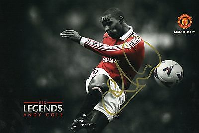 HAND SIGNED ANDY COLE MANCHESTER UNITED 12x8 PHOTO **PROOF** 100% GENUINE + COA