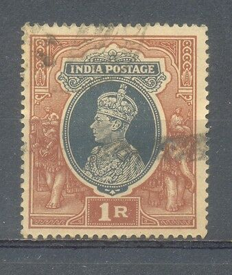 India 1937 1 Re Head of the King George Used Stamp Commemorative