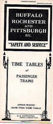 Buffalo Rochester & Pittsburgh RY BR&PRY Public Timetable July 25 1927