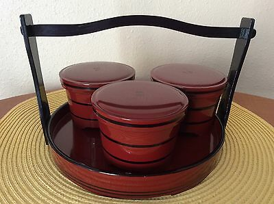 RARE Vtg Japanese Lacquer  Ware Tray w Handle & 3 Lidded Condiment Dishes