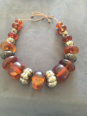 VINTAGE AFRICAN AMBER  COPAL LARGE BEAD  NECKLACE Translucent, Leaf Inclusions