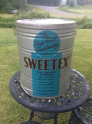 Vintage Sweetex Industrial Size Metal Can , Vegetable Shortening, Advertising