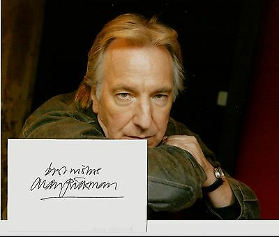 ALAN RICKMAN AUTOGRAPH - 5x3 SIGNED CARD WITH SUPER 10x8 COLOUR PORTRAIT