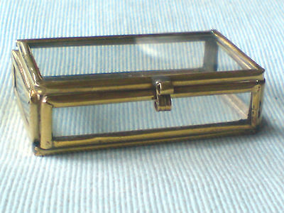 "PRETTY BRASS & GLASS TINY OBLONG PILL BOX 2""/ 5cm. x 1""/2.5cm.  only £3.50 NWT"