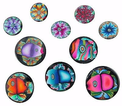 10 Crazy Fish n Floral Bubbles polymer clay cane pack by CHarm